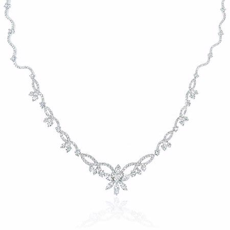 3.04ct Diamond 18k White Gold Flower Necklace