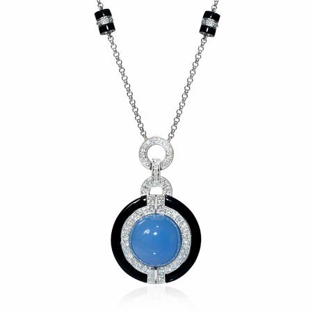 Diamond and Chalcedony 18k White Gold and Black Onyx Pendant Necklace