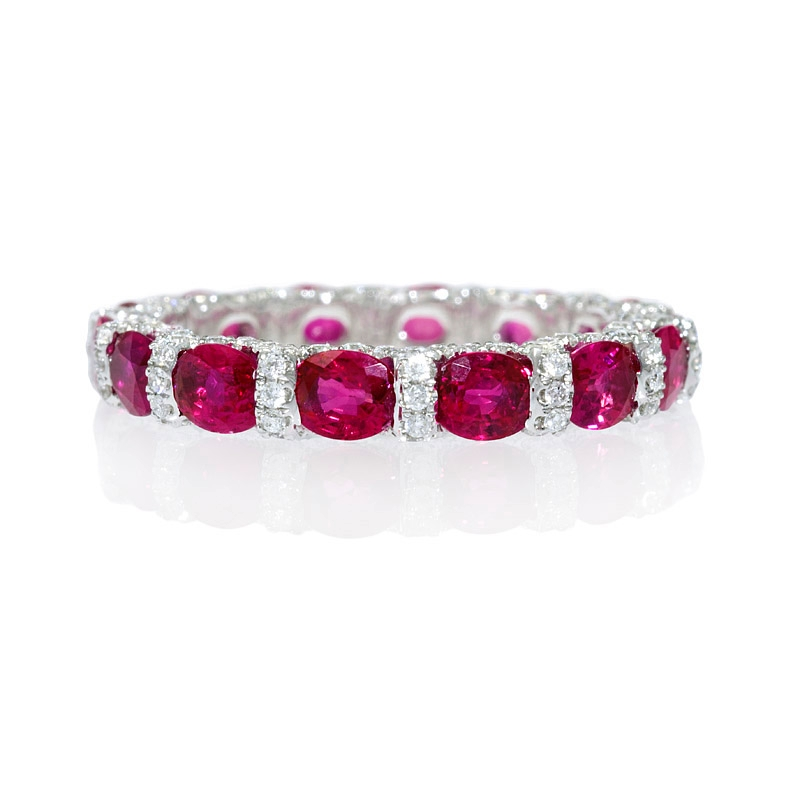 79ct and ruby 18k white gold eternity wedding