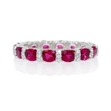 Diamond and Ruby 18k White Gold Eternity Wedding Band Ring