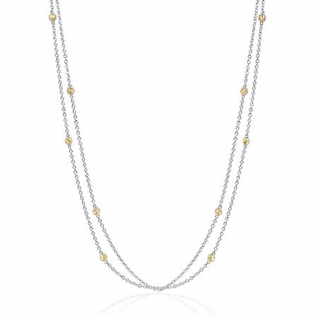 Yellow Sapphires Chain 18k Two Tone Gold Necklace