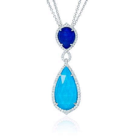 Doves Diamond, White Topaz, Lapis Lazuli and Turquoise 18k White Gold Pendant