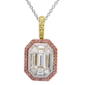Simon G Diamond Antique Style 18k Three Tone Gold Pendant