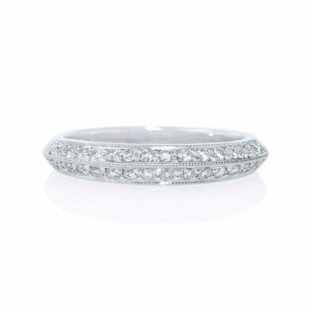 Diamond Antique Style 18k White Gold Knife-Edge Wedding Band Ring