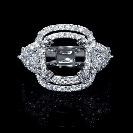 Diamond 18k White Gold Double Halo Engagement Ring Setting