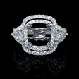 1.39ct Diamond 18k White Gold Double Halo Engagement Ring Setting