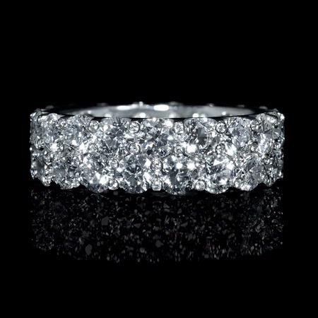 Diamond Two Row 18k White Gold Eternity Wedding Band Ring