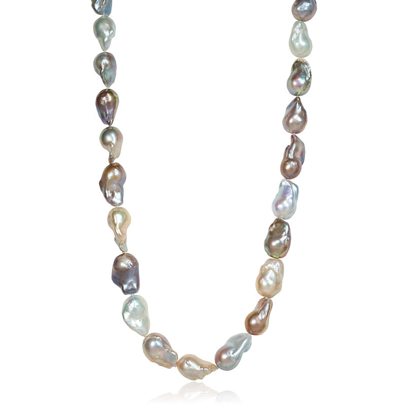 Colored Baroque Pearl Necklace