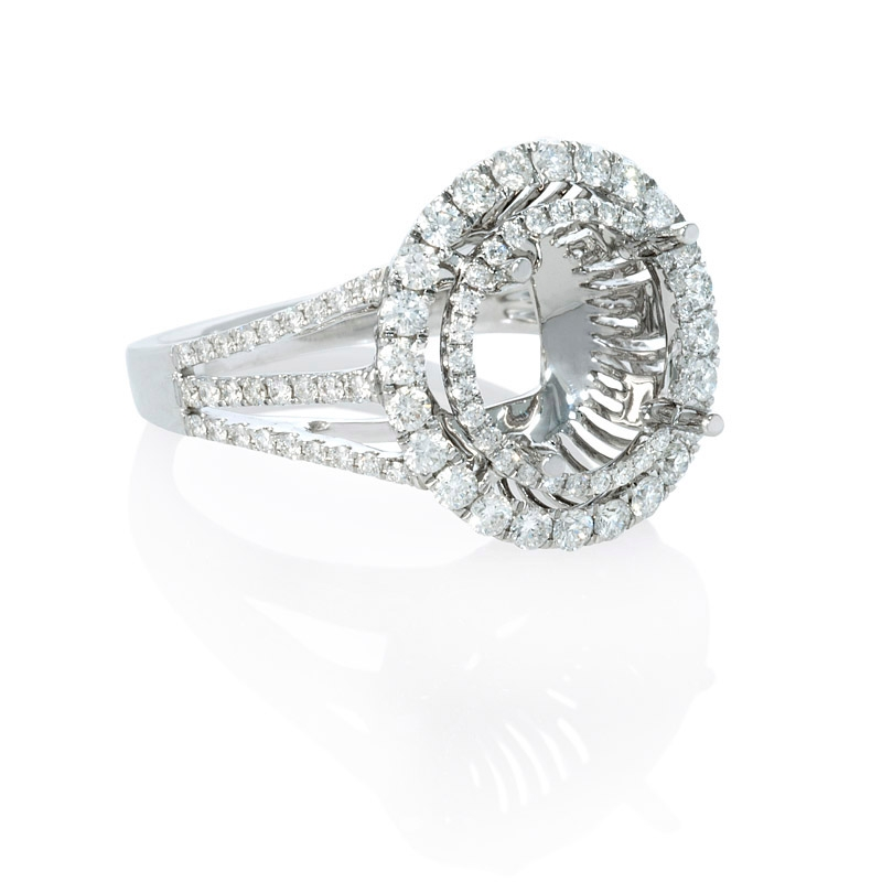 96ct Diamond 18k White Gold Double Halo Engagement Ring Setting