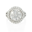 .96ct Diamond 18k White Gold Double Halo Engagement Ring Setting
