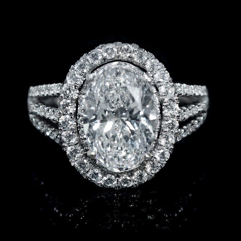 1 01ct Diamond 18k White Gold Double Halo Engagement Ring Setting