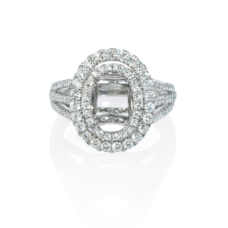 1 01ct Diamond 18k White Gold Double Halo Engagement Ring