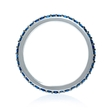 Blue Sapphire 18k White Gold and Black Rhodium Eternity Wedding BandRing