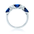 .35ct Diamond and Blue Oval Sapphire 18k White Gold Ring