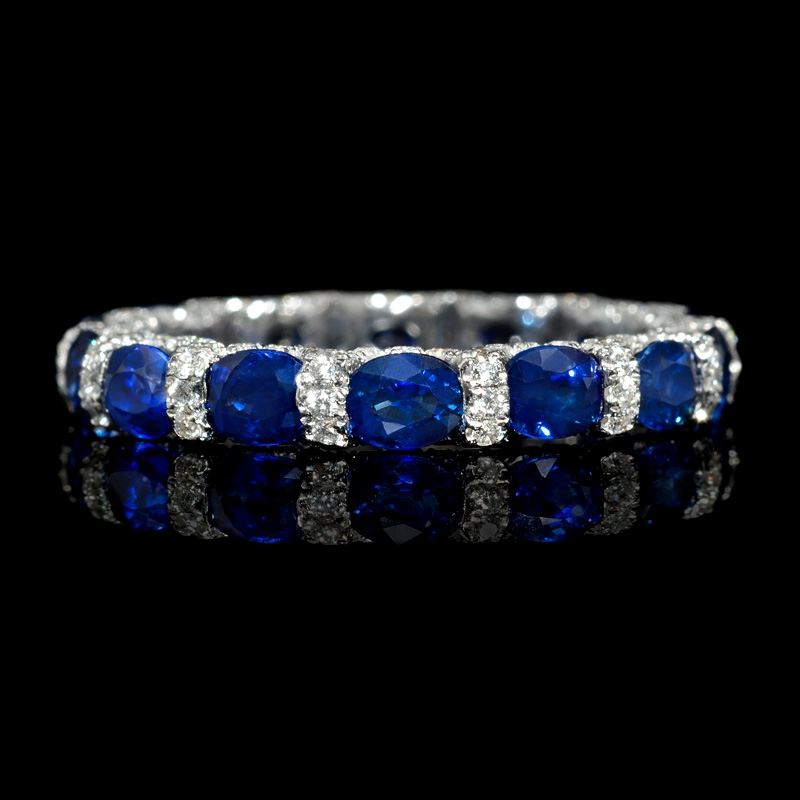72ct Diamond and Blue Sapphire 18k White Gold Eternity Wedding Band Ring