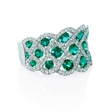 .65ct Diamond and Emerald 18k White Gold Ring