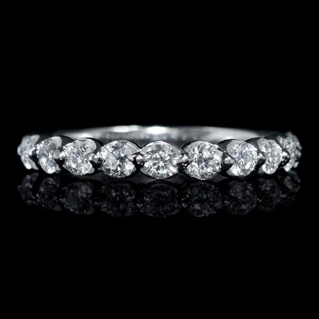 Diamond .64 Carat 18k White Gold Wedding Band Ring