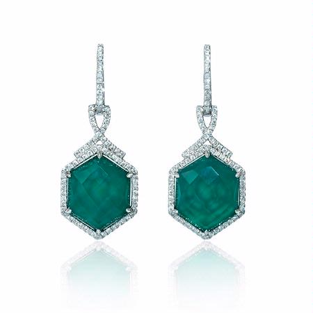 Diamond and Green Agate 18k White Gold Dangle Earrings