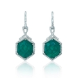 .64ct Diamond and Green Agate 18k White Gold Dangle Earrings