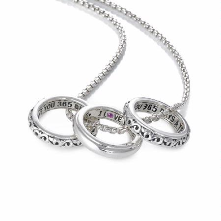 Charles Krypell I Love You 365 Days A Year Pink Sapphire Sterling Silver Ring Charm Necklace