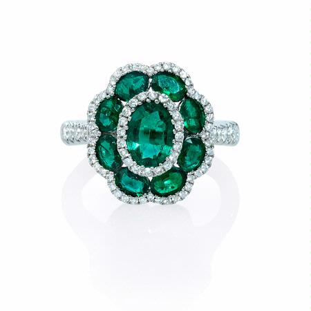 .44ct Diamond and Emerald 18k White Gold Flower Ring