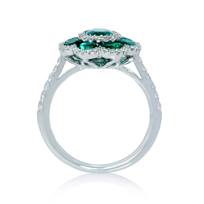 44ct and emerald 18k white gold flower ring