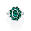 Diamond and Emerald 18k White Gold Flower Ring
