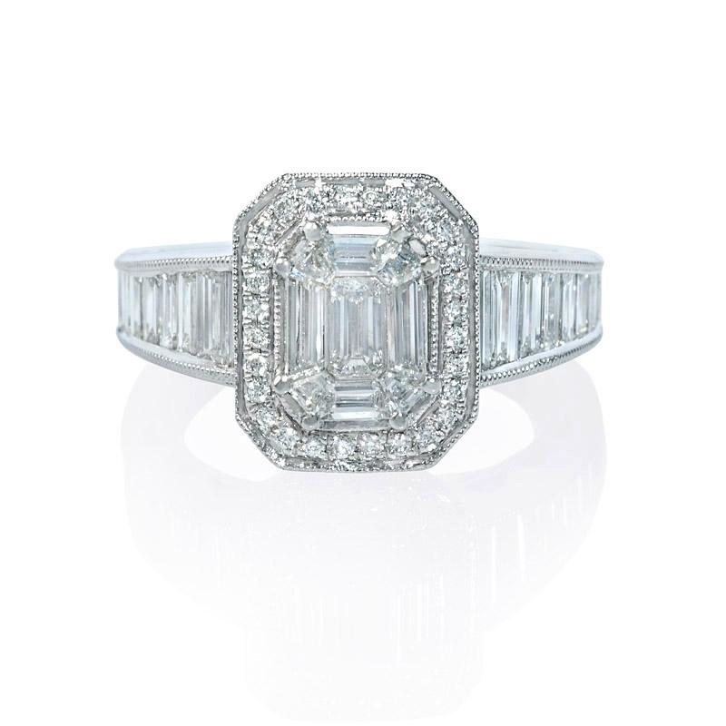 1.45ct Diamond Antique Style 18k White Gold Halo Mosaic Engagement Ring