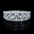1.61ct Diamond 18k White Gold Three Row Ring