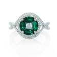 .53ct Diamond and Emerald 18k White Gold Ring