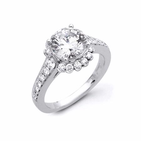 .60ct Simon G Diamond 18k White Gold Halo Engagement Ring Setting