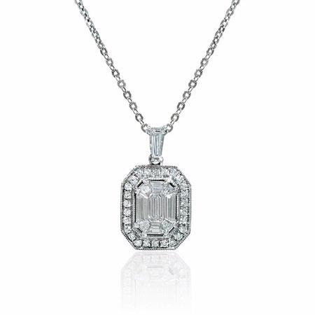Diamond Antique Style 18k White Gold Pendant