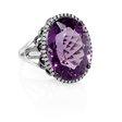 .25ct Diamond and Purple Amethyst 18k White Gold and Black Rhodium Ring