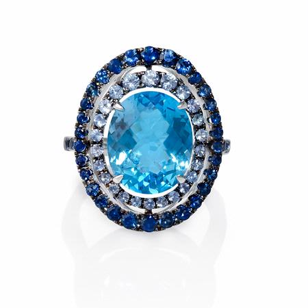 Sapphire and Blue Topaz 18k White Gold and Black Rhodium Ring
