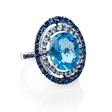 Blue Sapphire and Blue Topaz 18k White Gold and Black Rhodium Ring