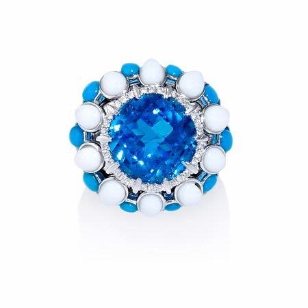 Diamond, Blue Topaz, Turquoise and White Onyx 18k White Gold Ring