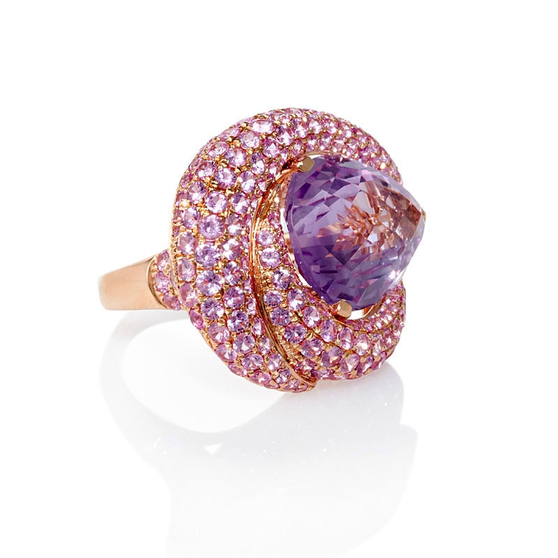 Pink Sapphire And Purple Amethyst 18k Rose Gold Ring