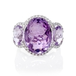 .34ct Diamond and Purple Amethyst 18k White Gold Ring