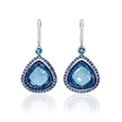 .19ct Diamond, Sapphire and Blue Topaz 18k White Gold and Black Rhodium Dangle Earrings