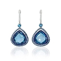 Diamond, Sapphire and Blue Topaz 18k White Gold and Black Rhodium Dangle Earrings