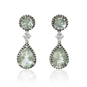 Diamond, Sapphire and Green Amethyst 18k White Gold and Black Rhodium Dangle Earrings