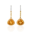 .19ct Diamond, Yellow Sapphire and Citrine 18k Two Tone Gold Dangle Earrings