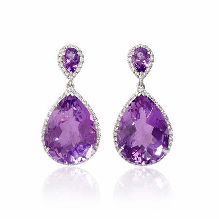 Diamond and Purple Amethyst 18k White Gold Dangle Earrings
