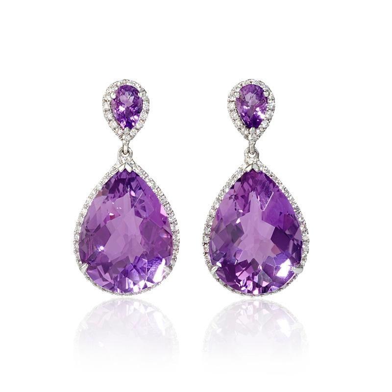 59ct diamond and purple amethyst 18k white gold dangle