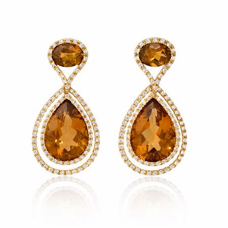 Diamond and Citrine 18k Yellow Gold Dangle Earrings