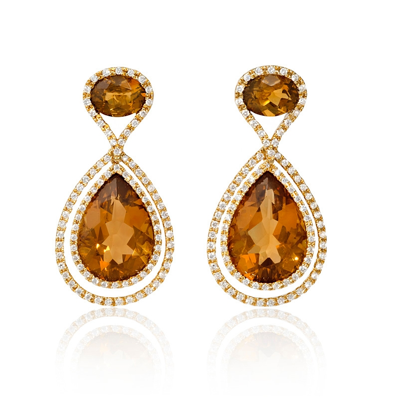 in natural sterling with silver jewelry ct citrine diamonds earrings