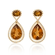 .87ct Diamond and Citrine 18k Yellow Gold Dangle Earrings