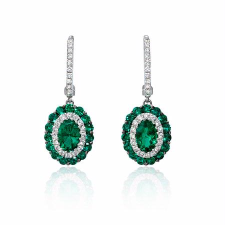 Diamond and Emerald 18k White Gold Dangle Earrings