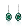 .29ct Diamond and Emerald 18k White Gold Dangle Earrings