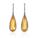 Diamond and Citrine 18k White Gold and Black Rhodium Dangle Earrings